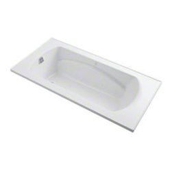 Sterling - Sterling Lawson 77301100 72 in. x 36 in. Air Massage Bathtub - 77301100-0 - Shop for Jetted/Whirlpool from Hayneedle.com! The 6-foot Sterling Lawson 77301100 72 in. x 36 in. Air Massage Bathtub surrounds you in massaging bubbles that relax every muscle and work out every kink! This 3-speed air massaging bathtub produces 360-degree coverage so you feel the invigorating effect from head to toe. The design of this piece provides a clean look with a contemporary feel that will elevate the decor of your home bathroom. Its carefully curved back and neck support makes lying back comfortable without the need for a towel or pillow as you let everything from the chest down sink into a soothing pool. And talk about depth this tub is capable of holding up to 68 gallons of water this relaxing tub is ideal for the individual who enjoys a nice long soak after a hard day's work. As for the construction Sterling has a reputation for quality craftsmanship and like all of their other bathroom units; this one is made from solid Vikrell. The compression-molded Vikrell is a Sterling exclusive that provides strength durability and a lasting beauty that you can customize with your own choice of finish. Kohler almond Kohler biscuit and pure white are all available with a coating of high-gloss that creates a smooth shiny surface which looks marvelous and is incredibly easy to clean. This bathtub measures 72W x 36D x 20H inches and looks great in an alcove or island. Receptor only; end walls and back walls can be ordered separately.About SterlingEstablished in 1907 and quickly recognized as a leading manufacturer of faucets and brassware Sterling has been known for their diversity of products and industry-leading designs for over a century. In 1984 Sterling was acquired by Kohler Co. to create a mid-priced full-line plumbing brand and allow Kohler the opportunity to sell their products in retail stores. Over the years Kohler quickly began acquiring other companies to help enhance t