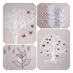 Yosemite Home Decor - Tree of Love Art - If you are looking to add to a shabby chic room look no further than this canvas. This painting features four cut corner rectangular tiles each with a different painting. The top left hand painting features what could be interpreted as seeds blowing halfway through the painting stopping to meet four leave branches. The painting on the top right is of a thin bare branch tree with four floating butterflies. The bottom left painting is a fuller tree with leaves and floating hearts among its branches. Last, the bottom right painting features floating single leaves over a branch of leaves with falling seeds. The colors of these canvas tiles is a beige background with red, white, and grey images.
