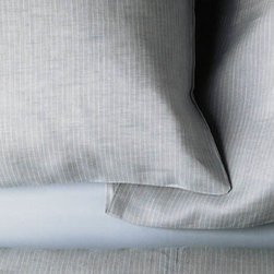 Area - Celine Grey Linen Pillowcases - Yarn dyed stripe, soft grey.
