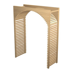 """EcoWineracks 36"""" Wide Lattice Arch, Clear Acrylic Finish, Golden Finish - EcoWineracks are the worlds only traditional style wine racks made from non-forested and sustainable bamboo. Bamboo is superior to wood in strength and durability, is non-warping and has consistent grain."""