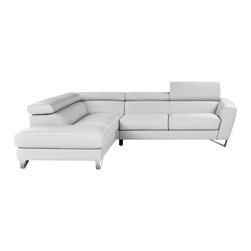 J&M Furniture - Sparta Italian Leather Sectional Sofa in White, Left Chaise - Seats and backs of this sectional feature high density foam to give extra comfort and support. Upholstered in top grain genuine Italian leather all around with no splits. Sectional also features adjustable head rest and ratchet mechanism. *29'' Height / 290 lbs