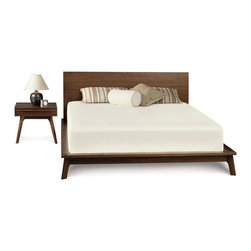 Catalina Platform bed in American Walnut - The Catalina Platform Bed is reminiscent of Danish Modernism with well proportioned and subtle curved legs--made out of American Walnut in Vermont.