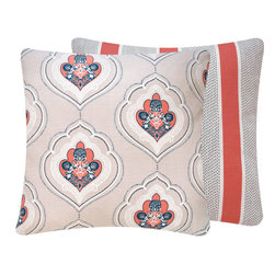 Chloe & Olive LLC - Duralee Coral Floral Throw Pillow, 20x20 - Soothing tones and inspired by serenity, this designer collection will transform your living space into a blissful retreat.
