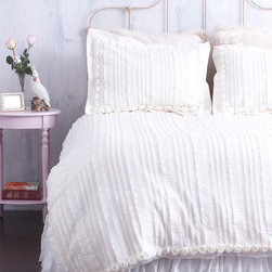 Cream Ruffled Duvet Cover With Rosette Trim -