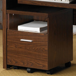 Coaster - Oak Transitional File Cabinet - Clean lines and functionality describe this home office group. The top desk features a keyboard tray and pairs perfectly with the matching computer stand. Bookcase or mobile file cabinet.
