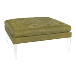 """Lee Industries - Hudson Leather Ottoman - The square Hudson leather ottoman marries traditional comfort with clear style. Available in several upholstery optoins, the furnishing's double-layered button-tufted cushion tops exposed acrylic legs for a modern combination. 42""""W x 42""""D x 19""""H; Solid wood frame with tapered acrylic legs; Soy-based foam cushion wrapped in regenerated fibers and sewn into 100% cotton downproof ticking; Choose from a selection of upholstery options; Fabric samples are available on loan, email your request to swatches@zincdoor.com; Made in the USA using sustainable, eco-friendly production practices; Top grain, unprotected leather; Natural markings and minor scratches are expected"""
