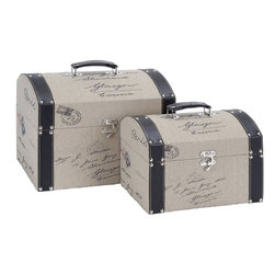 Benzara - Wood Leather Box For Fashionable Storage - Set of 2 - If you are left with small space in your room and you want to use this space purposely, have a look over 54105 Wood Leather Box S/2 a set of two.