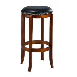 None - Jackson Bicast Leather Swivel Cherry Bar Stool - Avoiding d�cor lines,this circular bi-cast leather swivel barstool features a plush seat filled with high-density foam. With 360-degree rotation for excellent movement,it has slimming,tapered-bottom legs and a rich cherry finish.