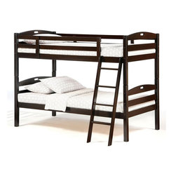 Night & Day Furniture - Dark Chocolate Finish Twin over Twin Bunk Bed - Twin Over Twin Bunk Bed includes Headboard, Footboard, Posts, Rails/Ladder, and Slat. 100% Malaysian Rubberwood construction. Engineered for economy. Built for the usual abuse. Sesame's solid hardwood frame is naturally strong and sturdy. Sesame Twin Twin Bunk Bed comes with a limited 5 year warranty. Chocolate finish. This bed comes in Dark Chocolate, Cherry, or White Finish. Overall: 80.2 in. L x 41.9 in. W x 60.4 in. H. Bunk Bed Warning. Please read before purchase.. NOTE: ivgStores DOES NOT offer assembly on loft beds or bunk beds.