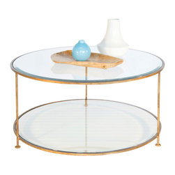 Worlds Away - Worlds Away Gold Leaf Iron Round Coffee Table With Beveled Glass Top - Worlds Away Gold Leaf Iron Round Coffee Table with Beveled Glass Top ROLLO G