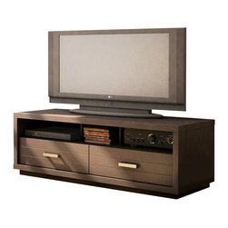 "South Shore - South Shore Solstice 42 Inch Chocolate TV Stand - South Shore - TV Stands - 4359663 - Maximize your TV's visual appeal by placing it on the chic Solstice TV stand. Designed to accommodate a 42"" TV this stand elevates your widescreen TV and brings the focus front and center so you can kick back relax and let the entertainment begin. Two spacious drawers keep DVD and CD collections organized and the open storage space keeps electronic equipment accessible yet neatly tucked away. The stand's clean contemporary lines coordinate with the linear design of your television while the lush chocolate finish adds tasteful opulence to your surrounding decor. Sleek metal handles add to the stand's modern style bringing a polished contrast to the luxurious finish. Grooves on the-Drawer fronts infuse the stand with flair giving it the status of a decorative-Piece as well as a functional one. Made in Canada."
