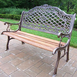 Oakland Living - High Back Bench in Antique Bronze - Mississip - Made of Durable Cast Iron and Wood Construction. Easy to follow assembly instructions and product care information. Stainless steel or brass assembly hardware. Fade, chip and crack resistant. 1 year limited. Lightweight and constructed of durable cast iron and wood. Hardened powder coat finish in Antique Bronze for years of beauty. Antique Bronze finish. Some assembly required. 52 in. W x 27 in. L x 39 in. H (110 lbs.)This bench will be a beautiful addition to your patio, balcony or outdoor entertainment area. Our Benches are perfect for any small space, or to accent a larger space.