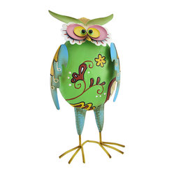 Colorful Metal Owl Statue with Spring Wings and Head 16 In. - This metal owl statue adds a splash of color to your porch or patio. Made of metal, it measures 16 inches tall, 7 3/4 inches wide, 4 1/2 inches deep, and is hand painted in a variety of cheerful colors. The head and wings are attached to the body by springs, giving the owl a whimsical quality that is sure to be admired. This piece makes a great gift for a friend `whooo` collects owls.