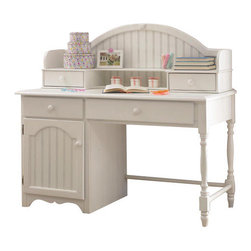 Hillsdale Furniture - Hillsdale Westfield Desk w/ Hutch - The whimsical yet traditional styling of the Westfield desk and hutch makes it a delightfully timeless addition to any young girl's room. It provides a large amount of storage space with two large shelves and several drawers and the cork board inside the hutch allows for placement of notes or pictures. The drawers have French dovetail drawer fronts, English dovetail drawer backs and wood on wood drawer glides. The white finish coordinates with any decor you might choose.