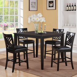 Standard Furniture - Standard Furniture Brooklyn 5 Piece Counter Height Dining Table Set - Dark Espre - Shop for Dining Sets from Hayneedle.com! The Standard Furniture Brooklyn 5 Piece Counter Height Dining Table Set - Dark Espresso will be the focal point of your dining space. This set includes a counter-height table and four chairs with smooth transitional style. All are made of hardwood solids and quality engineered wood products in a dark espresso stain. The chairs feature an X lattice back and black faux leather upholstered seats.About Standard FurnitureFounded in 1946 as a family owned American-based company Standard Furniture operates their own manufacturing and distribution facilities in Bay Minette and Frisco City Alabama with more than 80% of their entire workforce based out of the United States. Their 1.4 million square feet of manufacturing space 1.5 million square feet of warehouse space and more than 40 trucks enable them to keep up with customer demand. Their main focus is to assist their customers in growing their retail businesses by supplying products that will sell due to quality design and value. As one of the leading case goods manufacturers in the market Standard Furniture's continual growth and presence in the market place has remained steady over the last 60 years.