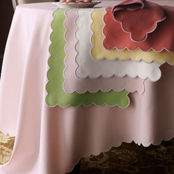 "Matouk - Matouk Savannah Gardens Oblong Cloth, 90""L - By Matouk. Choose (shown left to right) Pink, Spring Green, White, Butter, or Coral. White embroidered scalloped edge. Oblong cloth, 68""W. Placemat, 13"" x 19"". Napkin, 22"" square. Pique textured cotton/polyester. Machine wash. Made in USA...."