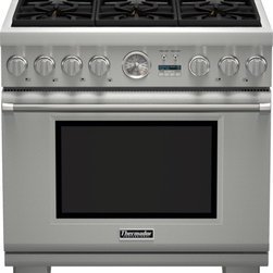 Thermador - 36 inch Professional Series Pro Grand® Commercial Depth Dual Fuel Range PRD366JG - The combination of powerful performance and elegant styling makes the Thermador Professional Series Range the epitome of American luxury in the kitchen. With ultimate performance driven innovation, these ranges now feature our easy-to-clean porcelain cooktop, ExtraLow® simmering featuring our Star® Burners, 22,000 BTUs Power Burner, a large capacity Convection Oven and SoftClose® doors.