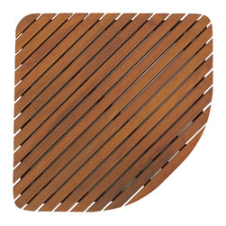 Bare Decor - Dania Corner Shower Mat in Solid Teak Wood - Escape from the ordinary with this Dania teak corner mat. It will bring the feel of a tranquil spa right into your home. Made of responsibly harvested solid teak wood (tectona grandis), it is naturally resistant to mold and mildew. This teak mat by Bare Decor will last you a long time saving you money and the environment.