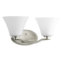 Progress Lighting - Progress Lighting P2005-09 Bravo Two-Light Bathroom Fixture with Fluted Etched - From the Bravo Collection, this two light bath vanity sconce fixture offers classic up lighting or down lighting with transitional style, providing both light and a transitional touch to bath decors.Features: