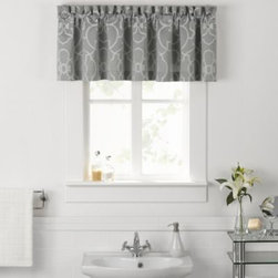 Vue - Vue Signature Iron Gates Bathroom Window Valance - Turn your bathroom into a luxurious resort with the Vue Signature Iron Gates collection. This beautiful woven jacquard valance features an elegant trellis pattern in a soft cream on a calming aqua ground.