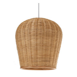 Kouboo - Wicker Pod Pendant Light, Natural - Add a little natural light to your interiors with this pendant. Made entirely of wicker, it diffuses the light for a warm, ambient glow.