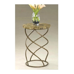 Butler - Round Accent Table with Zigzag Metal Base - This chic, contemporary-inspired round accent table with a zigzag metal base is carefully created to reflect the eclectic mode of any decor. It is fashionably designed with a fossil stone inlay top and a unique spring shaped metal base.