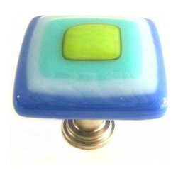 Uneek Glass Fusions - Blue, White, Turquoise, Lime Glass Knob - Collection: Strato