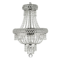 French Empire Crystal Chandelier Chandeliers Lighting Silver H22 X W15 3 Lights - Chandelier crystal lighting . A great european tradition. Nothing is quite as elegant as the fine crystal chandeliers that gave sparkle to brilliant evenings at palaces and manor houses across europe. The timeless elegance of this chandelier is sure to lend a special atmosphere anywhere it is placed!