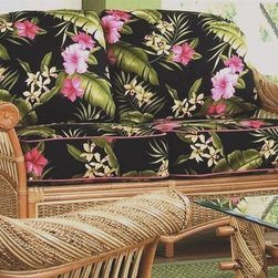 Spice Island Wicker - Love Seat with Cushions (Soho Robin - All Weather) - Fabric: Soho Robin (All Weather)Made from wicker. Natural finish. Includes cushion. No assembly required. 58.5 in. L x 39 in. W x 36 in. H (75 lbs.)
