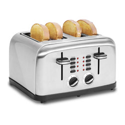 None - Multi-function Stainless Steel 4 Slice Toaster - Waste no time at breakfast with this convenient stainless steel four slice toaster. This toaster is capable of toasting up to four slices of toast or bagels at a time with four different settings and six different browning controls.