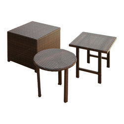 Great Deal Furniture - Lakeport 3pc Outdoor Nested Table Set - Our Lakeport Table Set is a great addition to any outdoor setting, including poolside areas, balconies, and screened porches. This set features three distinctly different, yet consistent, wicker tables.