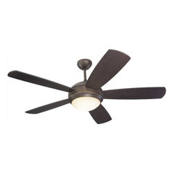 Montecarlo - Montecarlo Discus Ceiling Fan in Roman Bronze - Montecarlo Discus Model 5DI52RBD in Roman Bronze with Roman Bronze Finished Blades. Integrated light fixture for Discus fan with Graduated Amber glass.