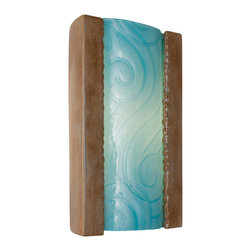 A19 - Clouds Wall Sconce Spice and Turquoise - This handmade ceramic and glass wall light features a textured pane of recycled art glass incised with airily spirals and winding lines. The rectangular ceramic frame curves in gently at the back and supports a convex pane of textured, recycled art glass. Light shines from the top and bottom of the fixture as well as through the translucent glass pane.