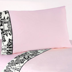 Sweet Jojo Designs - Sweet JoJo Designs 200 Thread Count Pink and Black Sophia Bedding Collection She - These sheets use solid baby pink made of 100-percent cotton with black and white damask trim and solid black piping. Made to coordinate with the matching Sweet JoJo bedding set, this sheet set is machine washable for easy care.
