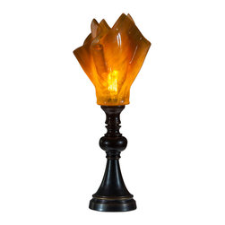 Art Glass Design Studio - Amber Table Lamp With Black Base - Elegant table lamp with black base and fused glass amber shade. Varda uses glass much like a quilter uses fabric; creating a glass canvas from bits and pieces of glass, that is fired, cut and used again in a new design, using layers of color and texture to create depth in a piece of art.