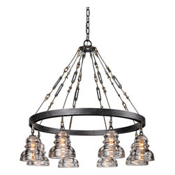 Troy Lighting - Troy Lighting F3136 Menlo Park 8 Light Chandelier - �A great combination of industrial design elements, the Menlo Park 8 Light Pendant is a marvel that brings light and life to any space. Crafted from hand-worked wrought iron and finished in old silver, this pendant is framed with a variety of timeless forms that draw to its agrarian and foundry charms. Highlighted with eight custom candelabra diffusers in a classic, speakeasy-style shape, this fixture is a sure staple for any decor. Perfect for giving a fresh feel to any loft, kitchen, or bar space.
