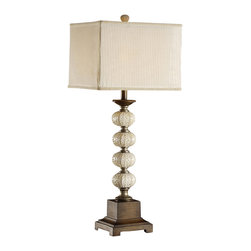 "Crestview - Crestview CVATP850 Seagrove Table Lamp - Seagrove Table Lamp Resin Sea Urchin Table Lamp (13/13 x 13/13 x 11"" Double Layer Shade in Cream Striped Sheer & Taupe Fabrics) 3-way 100w max wattage bulb 35"" Ht."