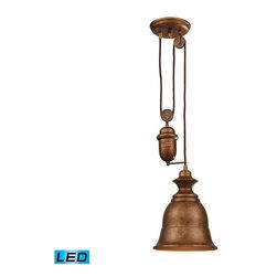 Elk Lighting - Elk Lighting 65060-1-LED Farmhouse Traditional Pendant Light - Elk Lighting 65060-1-LED Farmhouse Traditional Pendant Light in Bellwether Copper