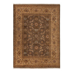 Jaipur Rugs - Hand-Knotted Oriental Pattern Wool  brown/Tan Area Rug ( 9x12 ) - The Biscayne Collection exemplifies our attention to detail. Biscayne yarn is hand-sorted, ensuring that all the fiber is uniformly soft and durable such that each piece of yarn has a character all its own. Our unique process of hand-spinning 100% wool has made the Biscayne collection an exceptional platform for antique rug replication. The overall process creates an aged look, with a feel that is at once warm, fresh, and created to endure for generations. The luxury and feeling of the Biscayne Collection, together with its exquisite array of lavish colors, is immediately appealing to even the most discriminating collector.