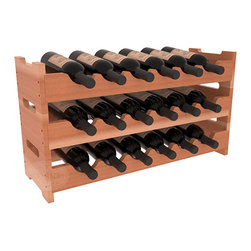 18 Bottle Mini Scalloped Wine Rack in Redwood with Satin Finish - Stack three 6 bottle racks for proper storage of 18 wine bottles. This rack requires light hardware for assembly and is ready to use as soon as it arrives. Makes the perfect gift and stores wine on any flat surface.