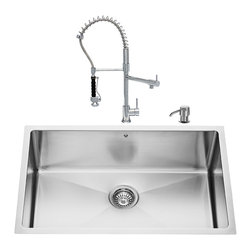 """VIGO Industries - VIGO All in One 30-inch Undermount Stainless Steel Kitchen Sink and Chrome Fauce - Breathe new life into your kitchen with a VIGO All in One Kitchen Set featuring a 30"""" Undermount kitchen sink, faucet, soap dispenser, matching bottom grid and sink strainer."""