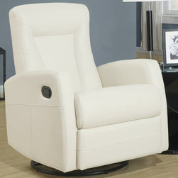 """Monarch - Ivory Bonded Leather Swivel Rocker Recliner - This contemporary design accent chair combines 3 functional elements.....it swivels......it rocks.....and it reclines, ensuring that you are always in a comfortable position. This ivory bonded leather chair with a contoured back and seat was designed for ultimate comfort. Whether reading a book or watching sports this will be the chair that everyone will want to sit on. The easy glide motion and the contemporary design makes it a chic and fashionable addition for your den, bedroom, living room or basement. It truly is a chair for any room in your home.; Color: Ivory; Country of Origin: China; Weight: 88 lbs; Dimenions: 29.5""""L x 33.5""""W x 40.5""""H"""