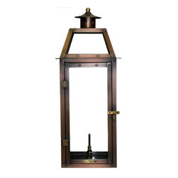 """Primo Lanterns - Primo Lanterns PL-25 Bienville 25"""" Outdoor Wall-Mounted Lantern in Natural Gas C - Primo Lanterns PL-25 Bienville 25"""" Outdoor Wall-Mounted Lantern in Natural Gas Configuration, with ValveAdd Southern Charm and character to any outdoor area with a gas burning wall lantern from Primo Lanterns. Hand made from pure copper, these lanterns are antique-finished and clear-coated for a breathtaking appearance. The dancing pecan leaf flame will captivate with its splendor, and its warm glow will offer relaxing illumination wherever this lantern is located.Primo Lanterns PL-25 Features:"""