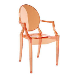 Kartell - Louis Ghost Chair - Louis Ghost Chair is available in a Transparent Sunset Orange, Transparent Straw Yellow, Transparent Ice Blue, Transparent Crystal Clear, Opaque Glossy Black, Opaque Glossy White or Transparent Smoke Grey finish. The Louis Ghost Armchair by Kartell combines baroque Louis XV style with the latest manufacturing technologies. The Louis Armchair is a comfortable armchair in transparent and colored polycarbonate. The Louis Ghost is stable and durable, scratch and weather resistant. 21 inch width x 37 inch height. 19 inch seat height and a 27 inch arm height.