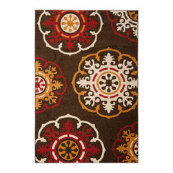 Safavieh - Newbury Brown and Red Rectangle: 5 Ft. 1 In. x 7 Ft. 6 In. Area Rug - - Dramatic statements for neutral rooms in need of pizzazz, the exploded floral and medallion patterns in Safavieh's Newbury collection work equally well in living room, bedroom and dining room. A Power-loomed in Turkey of durable, easy care polypropylene,  - Color: Brown and Red  - Pile Height: 0.63  - Material: Polypropylene  - Weave: Power Loomed Safavieh - NWB8699-2540-5
