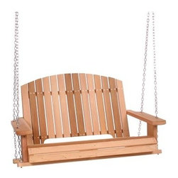 All Things Cedar Pergola Swing - With its comfortable, curved seat and wide arm panels, you'll love spending summer evenings on your porch, relaxing on the All Things Cedar Pergola Swing. This beautiful swing is made of clear grade Western Red Cedar which is naturally resistant to rot, decay, and insects, not only ensuring that it will last for years, but that it will also retain its beauty. You'll love its natural sanded finish and the fact that, if you choose, it can be painted or stained to match your outdoor decor. Featuring hardwood doweling and pre-drilled holes, this swing has routed edges for clean lines and an elegant look as well as rust-resistant hardware. It's 26-foot hanging chain is strong, durable, and gives you plenty of hanging space. Enjoy spending time outdoors with a good book, friend, or loved one. Perfect for sipping on a cold drink while you watch the sunset, this porch swing is a great addition to your home. Additional Features Beautiful, finely sanded finish Rust-resistant hardware Naturally resistant to rot, insects, and decayAbout All Things Cedar A world leader in fine patio furniture, garden furniture, and other accessories, All Things Cedar is a smart choice for your outdoor needs. They offer an extensive line of unique items made from high-quality, weather-resistant woods, including clear-grade cedar, teak, and more. Their items are designed with care in timeless fashions that are sure to enhance your space. All Things Cedar prides themselves on fine customer service and dependable products.