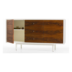 "Arteriors - Arteriors Home - Trenton Credenza - 5356 - This elegant console or credenza takes its inspiration from mid-century design. The two doors and three ""soft closing"" drawers have beautiful rosewood veneer fronts. The sides, top and back are finished in white lacquer. Features: Trenton Collection Credenza White Lacquer WoodRosewood Veneer Some Assembly Required. Dimensions: W: 59"" x D: 21.5"" x H: 32"""
