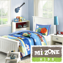 Mi-Zone - Mizone Kids Truck Zone 4-piece Comforter Set - Colorful toy trucks,ambulances,motorcycles,airplanes,and helicopters run across the fun Truck Zone comforter. Several trucks are outlined and quilted creating added dimension to this collection.
