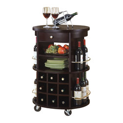 Monarch Specialties - Monarch Specialties Round Bar Serving Cart w/ Wine Storage - This transitional style solid wood and veneer bar serving cart has a deep cappuccino finish, with an abundance of storage space for your wine. It has a nine bottle wine rack, in addition to space on each side, while two shelves and one drawer can be used for plates, bottle openers and other wine accessories. With its four heavy duty casters for easy mobility, this piece can fit into any home with its modest detailing and simple silver metal knob and accents. Save space in your home with this curved unit and utilize that wasted space you never know how to fill. What's included: Kitchen Cart (1).