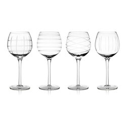 "Jay Companies - Fifth Avenue Crystal Medallion Wine Goblets - Serve your finest red and white wines in style, using our classic yet contemporary clear glass goblets! These high quality glasses will never cease to impress with their flawless appearance and unique graphic design. With a narrow rim and large bowl, these glasses can be used with a wide variety of wines, and will allow your guests to enjoy the complex tastes of your most popular bottles. * Set of 4 * Capacity: 16 oz * Dimensions: D: 3.75"" H: 8.5"""